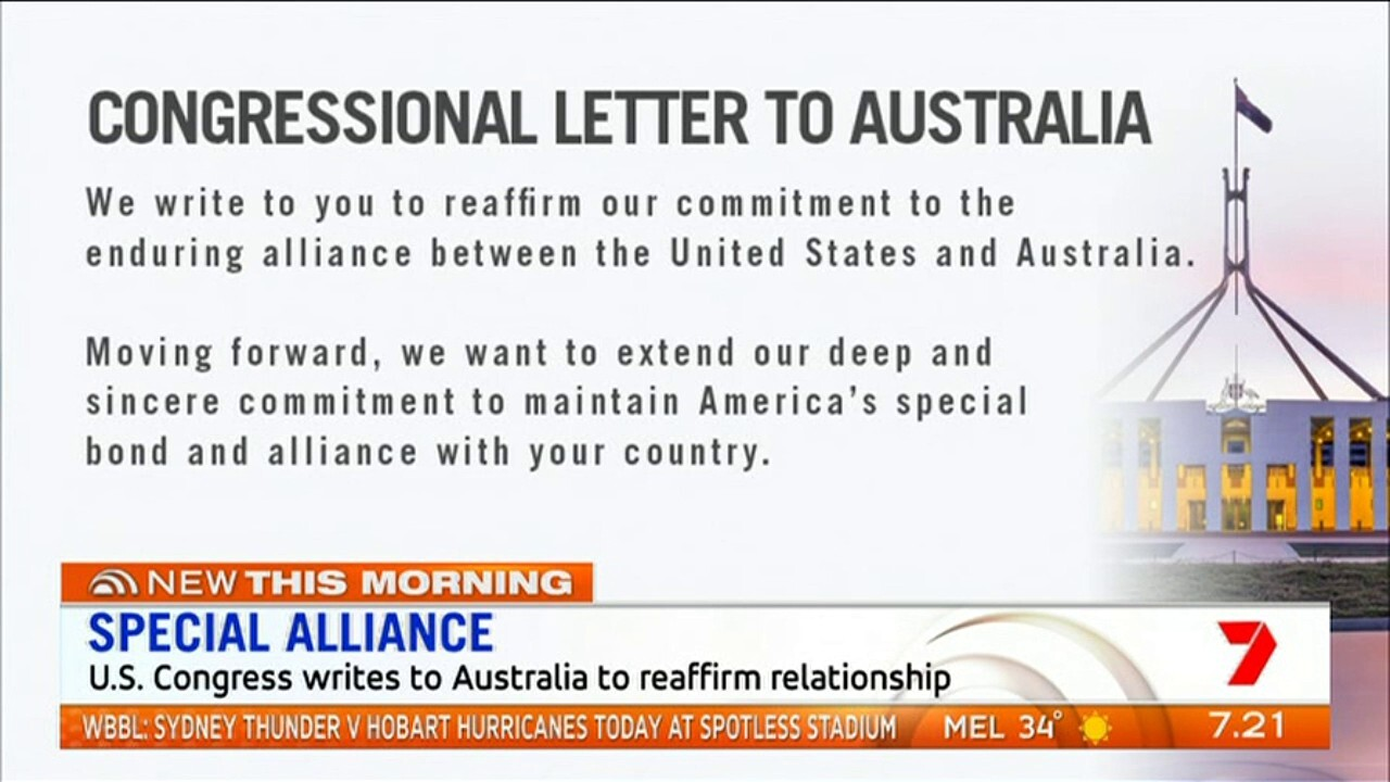 The US congress has written to Australia reaffirm its special relationship following the resignation of Donald Trump's defence secretary