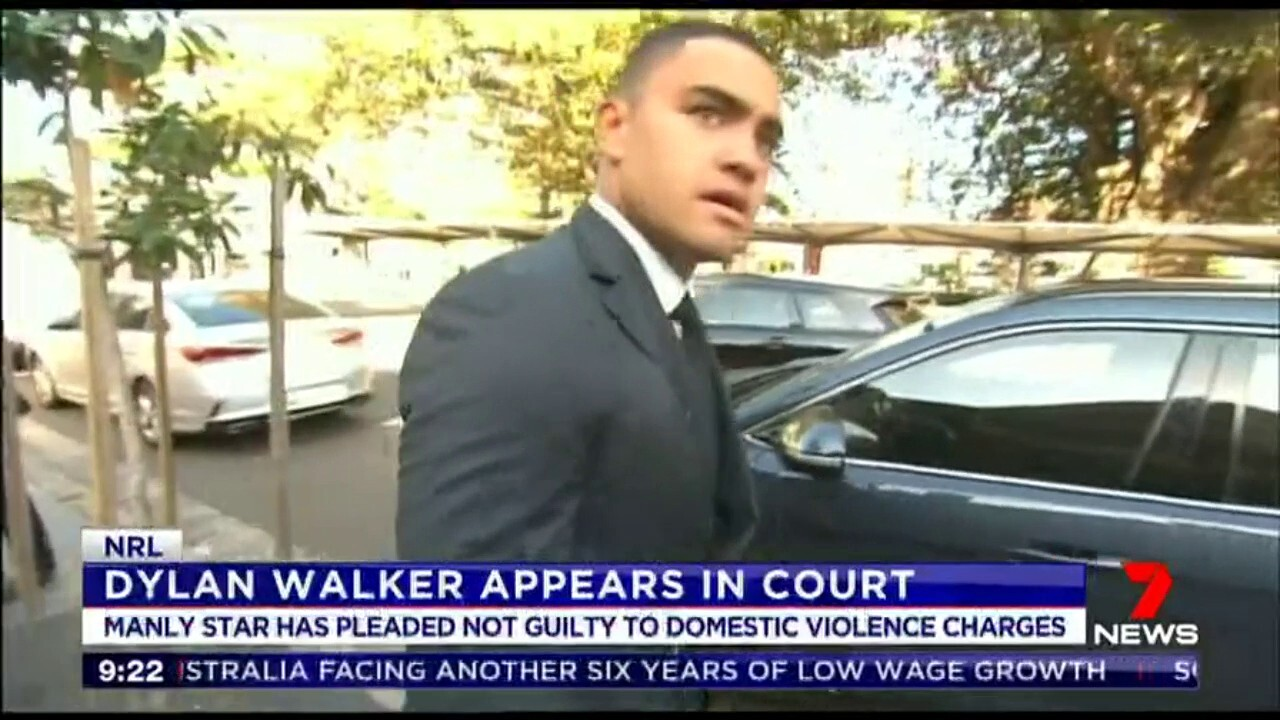 The Manly star has pleaded not guilty to domestic violence charges.