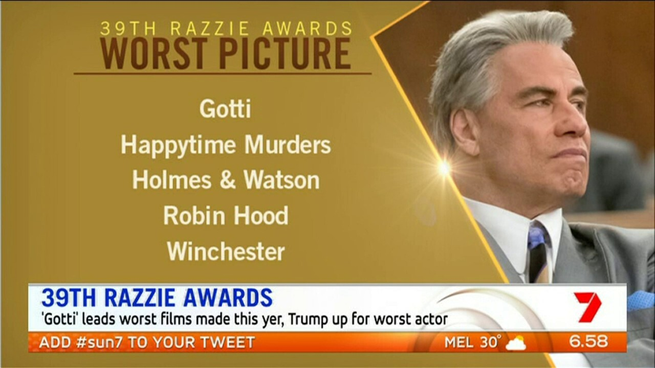 'Gotti' leads worst films made this year, Trump is up for worst actor.