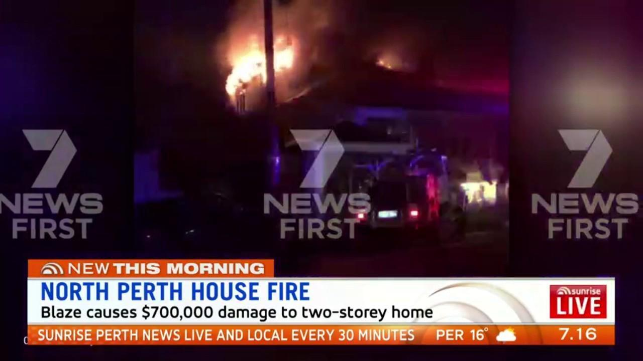 A fire caused $700,000 damage to a two-storey home in North Perth. The cause of the fire is undetermined with investigators to attend the scene this morning