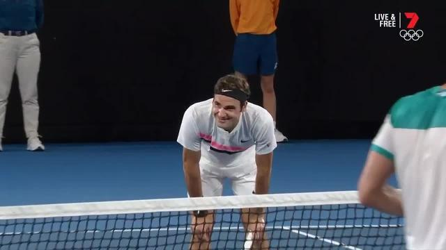 See the moment that allowed Roger Federer to claim a record-equalling sixth Australian Open.