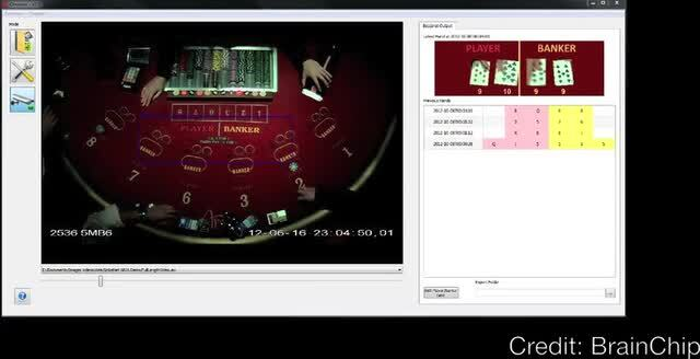 Here the card recogniser is used to follow the progression of a game of Baccarat.