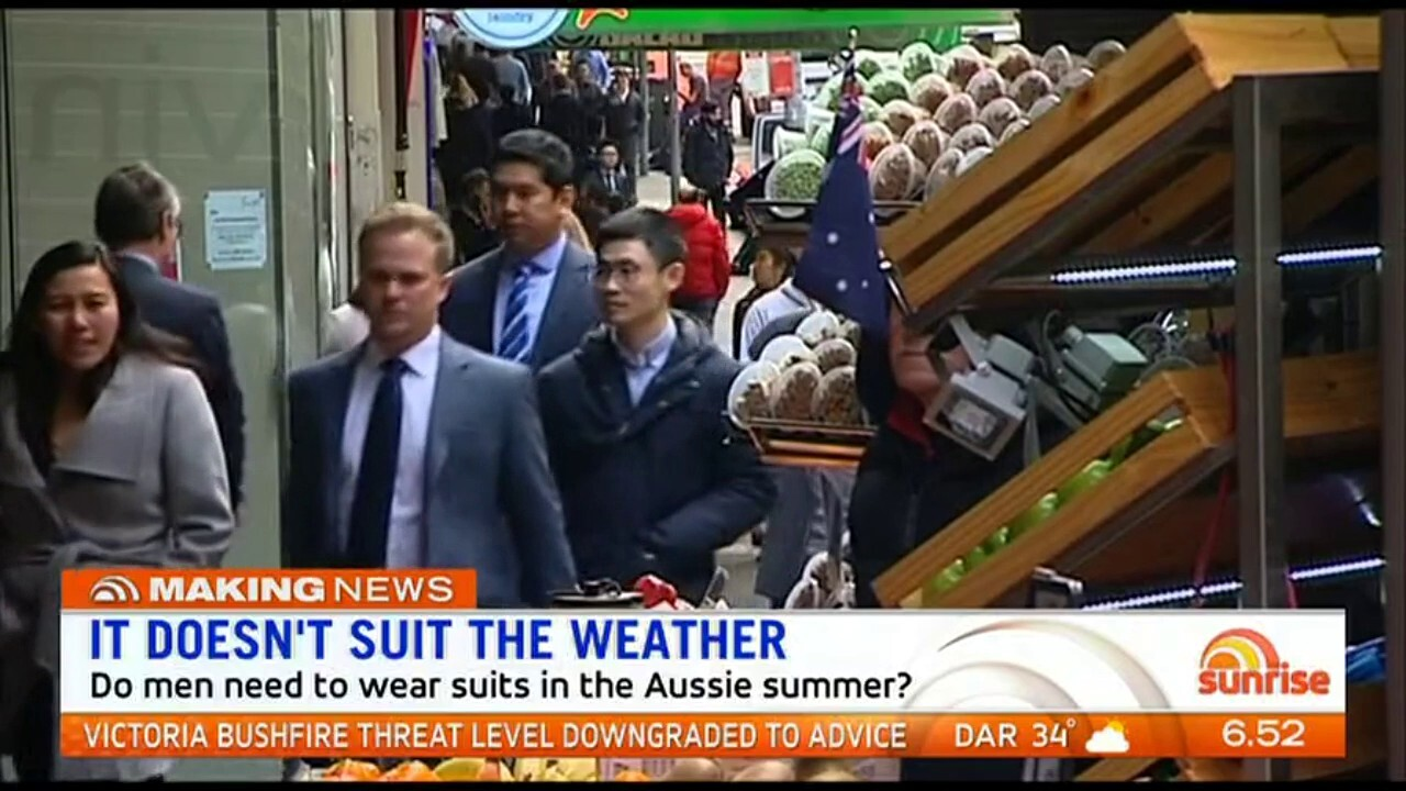 Sunrise discuss if men need to wear suits in the office during the Aussie summer