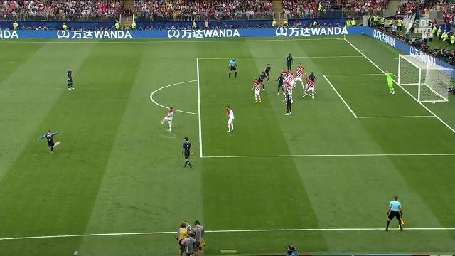 France opened the scoring against Croatia in the World Cup final. Video: Twitter / TheWorldGame