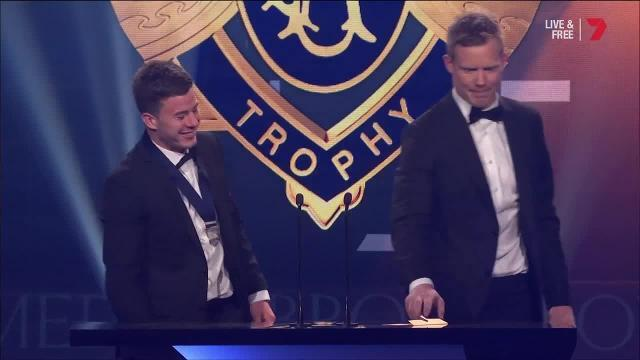 The Richmond forward won goal of the year for his ridiculous and controversial effort against Collingwood - and his speech didn't disappoint.