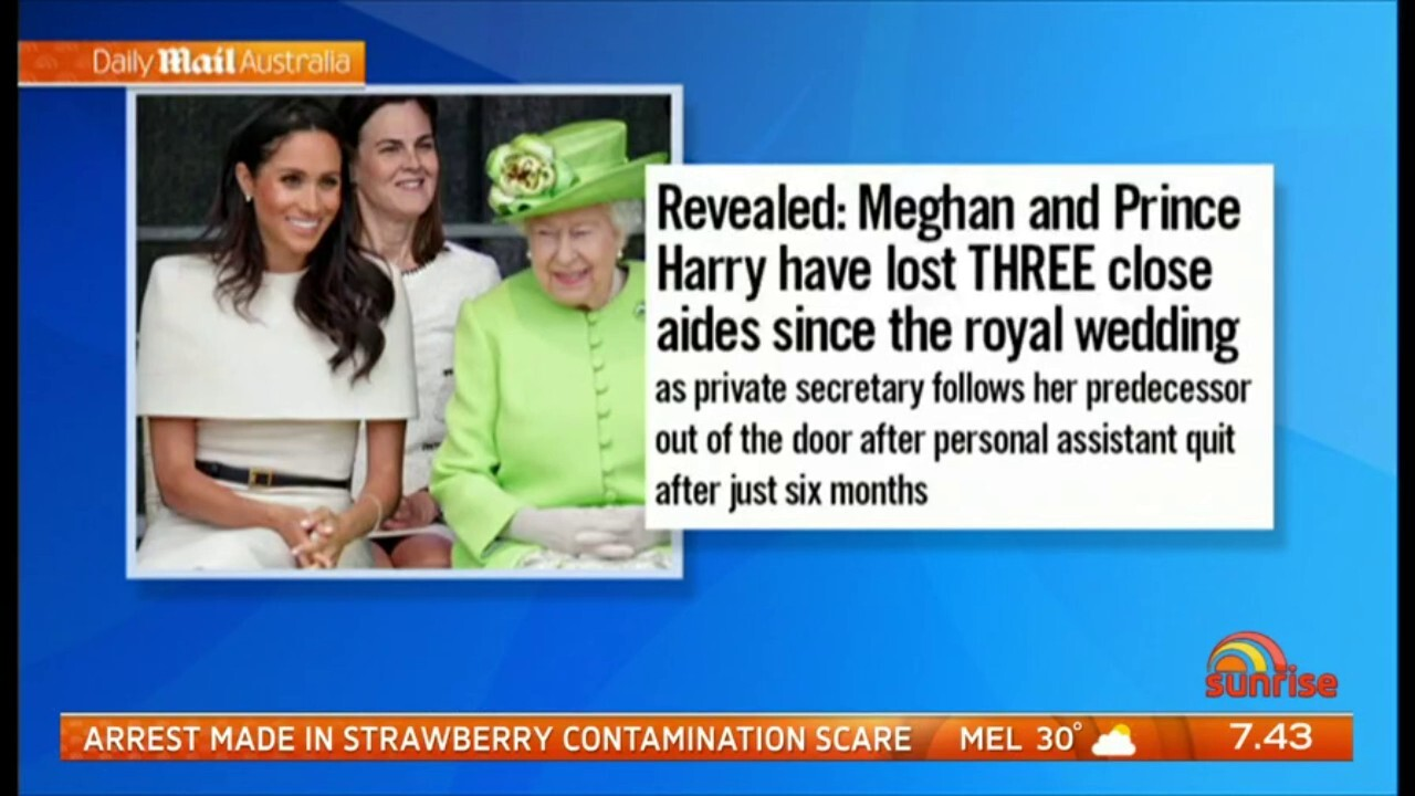 The Sunday Times Royal Correspondent Roya Nikkhah discusses reports Harry and Meghan have lost key palace aides due Meghan's behaviour
