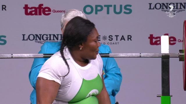 Ndidi Nwosu almost lifts twice her body weight to claim gold in the women's heavyweight para powerlifting category.