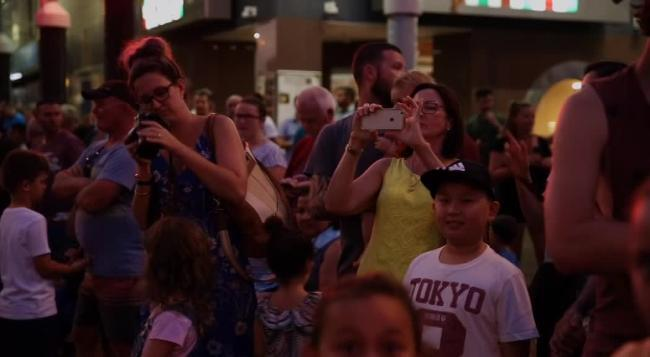 The Supercars show hit town with a bang on Wednesday night as the Transporter convoy made its way through Darwin CBD