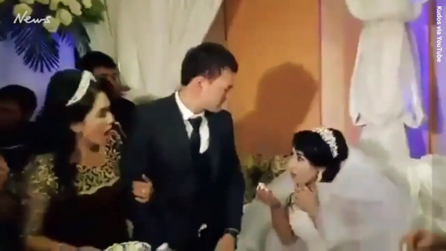 da4af8aa8d3 Bride slapped by new husband after she teased him with cake