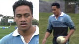 A young Jonah Lomu playing schools rugby.