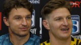 Beauden and Jordie Barrett after nail-biting win for the Hurricanes over the Blues