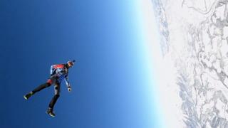 High-speed wingsuit flying in Austria
