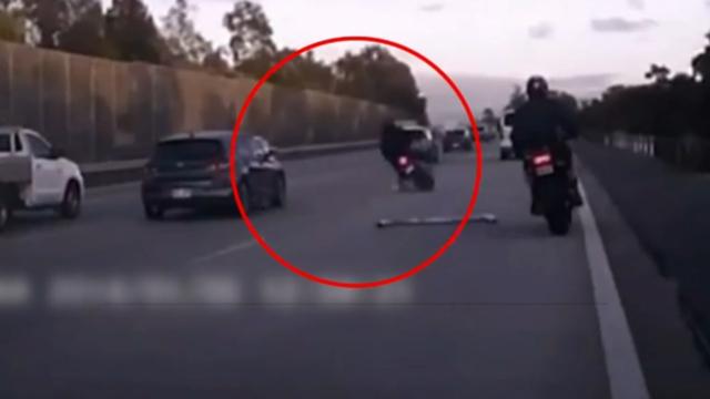 Dashcam footage captures shocking motorbike crash