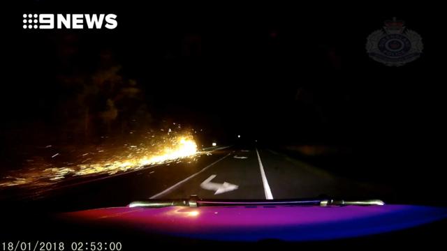 'Trailer' blazer: Man drives 20km with auto on fire