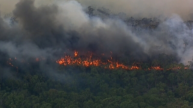 Homes spared from bushfire in west Sydney