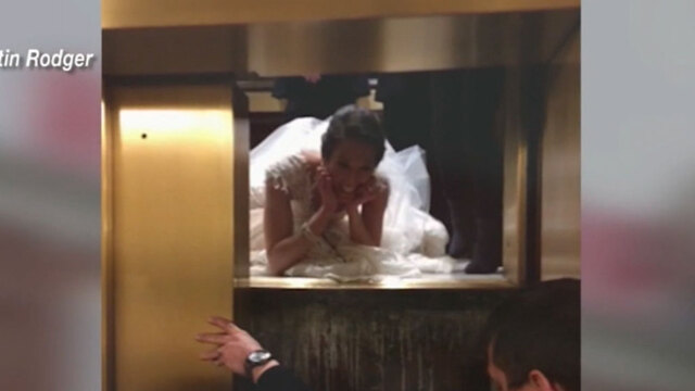 Bride misses cocktail hour after being trapped in elevator