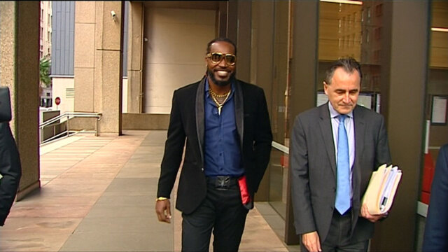 9RAW: Chris Gayle arrives at court for defamation case